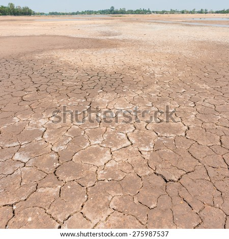 Drought land and blue sky - stock photo
