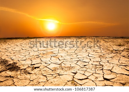 drought land and hot weather - stock photo