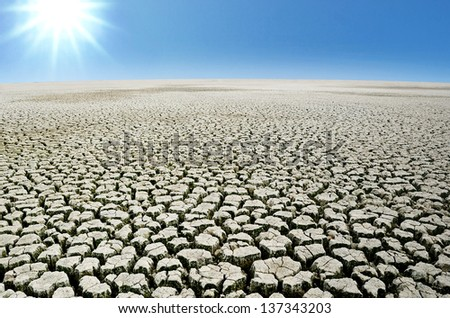 Drought land with sky - stock photo
