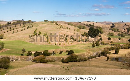 Drought of 2013 in new Zealnd left the land very dry looking. - stock photo