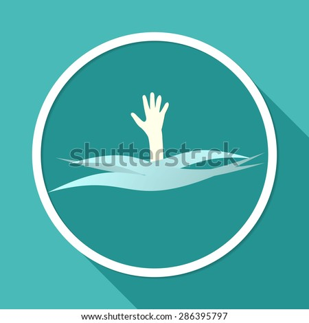 Drowning and reaching out hand for help a long shadow - stock photo
