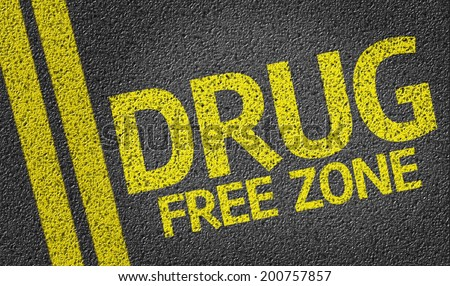 Drug Free Zone written on the road - stock photo