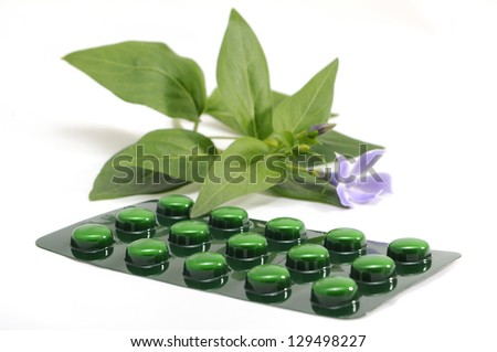 drugs and medicines with natural plant extracts, homeopathic and naturophatic - stock photo