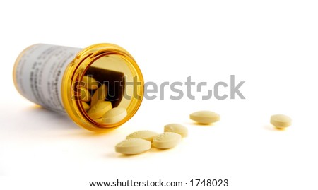 Drugs and Pill Bottle isolated on white - stock photo