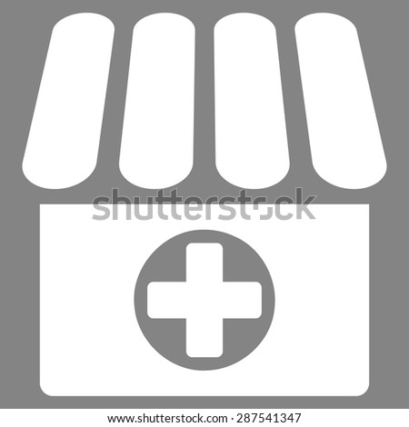 Drugstore icon from Business Bicolor Set. Glyph style: flat symbol, white color, rounded angles, gray background. - stock photo