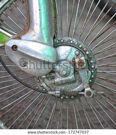 drum brake motorcycle wheel - stock photo