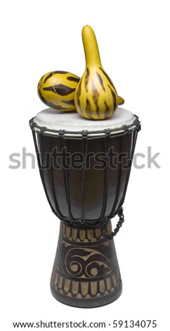 Drum for a game hands on a white background which percussion lie on - stock photo