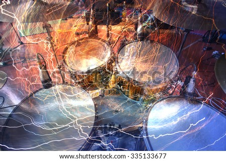 Drum kit in the studio closeup - stock photo