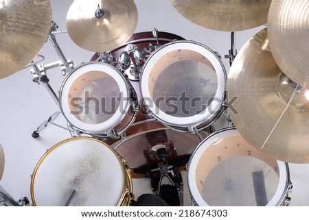 Drum kit isolated on white background. studio shot - stock photo
