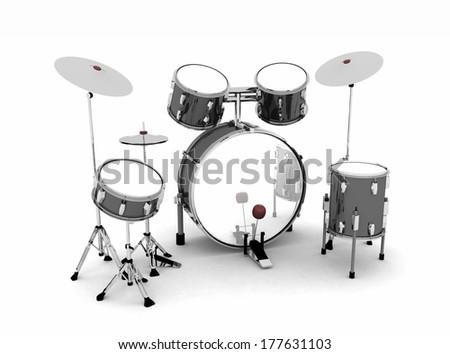 drum set black silver 2 - stock photo