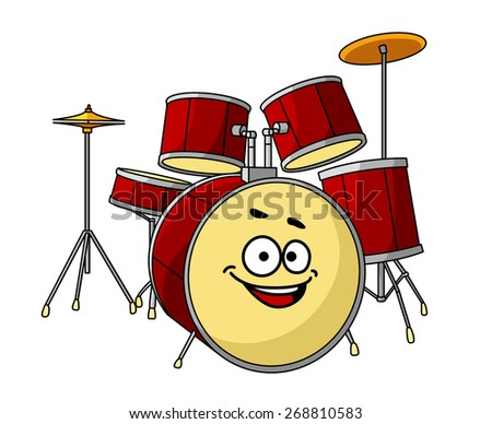 Drum set for a musical performance with a band with the drum in the foreground having a big happy laughing smile - stock photo
