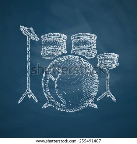 drum set icon - stock photo
