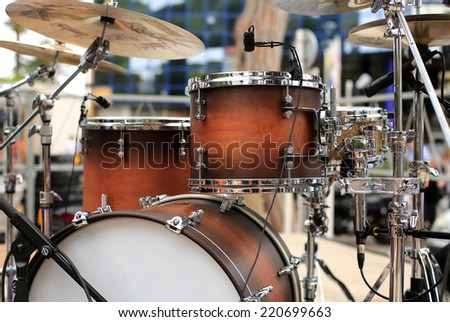 Drum set, musical instrument on a street concert - stock photo