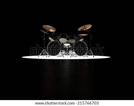 Drum set stands on the podium and is highlighted below - stock photo