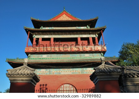 Drum-tower is a typical building in Beijing, which stands for the traditional royal architecture heritage. - stock photo