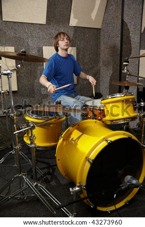 drummer near drum kit - stock photo