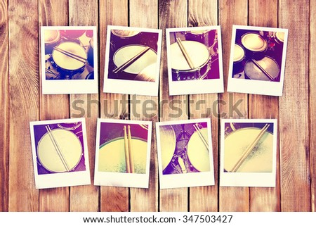 Drums conceptual image. Drums and drumsticks on the photo frames. Retro vintage instagram picture. - stock photo