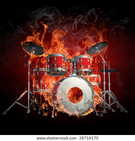 Drums in fire - Series of fiery illustrations - stock photo