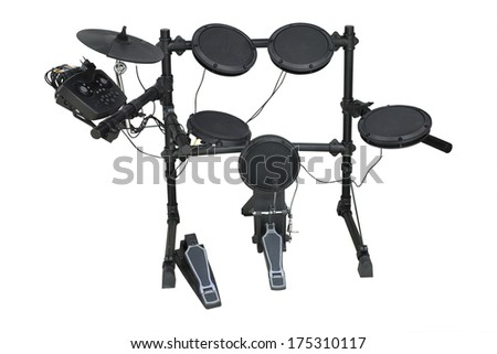 Drums set isolated under the white background - stock photo