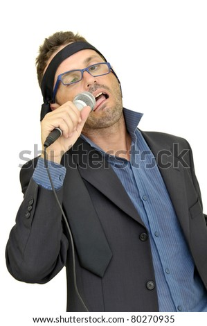 Drunk karaoke singer isolated in white - stock photo