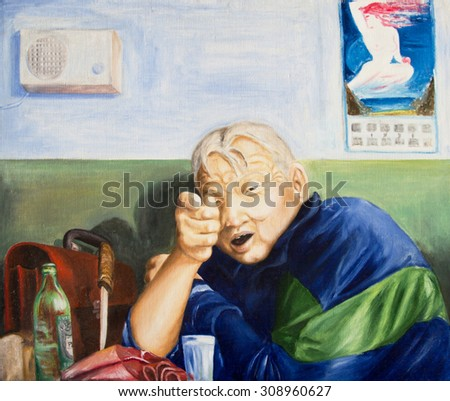 Drunk man at the table. Painting - stock photo