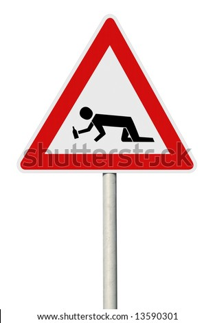 Drunk man crossing road sign with post - stock photo