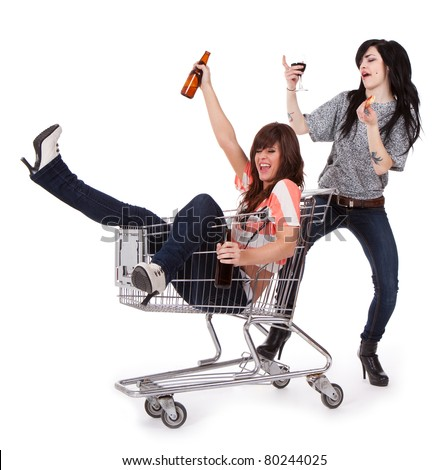 Drunk Party Girls - stock photo