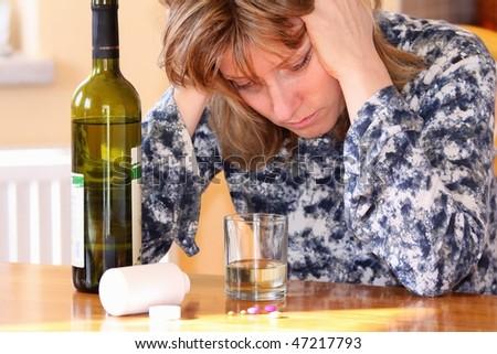 drunk woman - stock photo