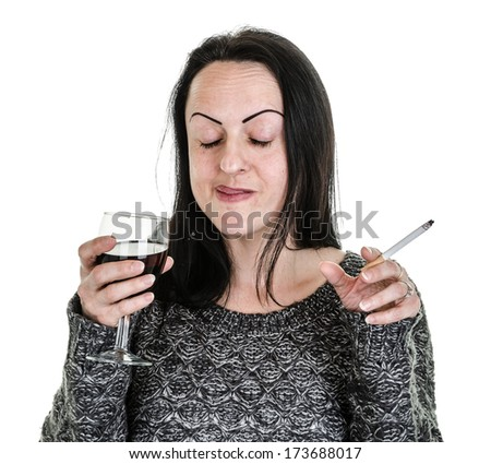 drunk, woman drinking red wine from glass and smoking  - stock photo