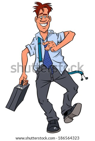 Drunken happy businessman after office party  - stock photo