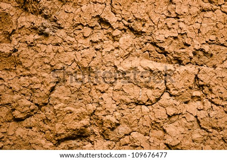 Dry and cracked red earth background at Thailand - stock photo