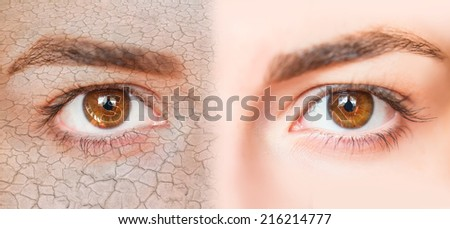 dry and normal skin  - stock photo