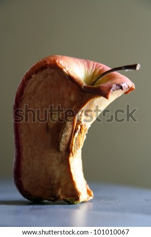 Dry apple. Dried apple. Old apple fruit. - stock photo