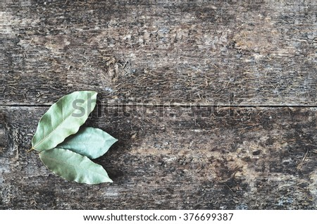 Dry bay leaf on the wooden rustic background, top view. Bay leaf background.  Daylight. - stock photo