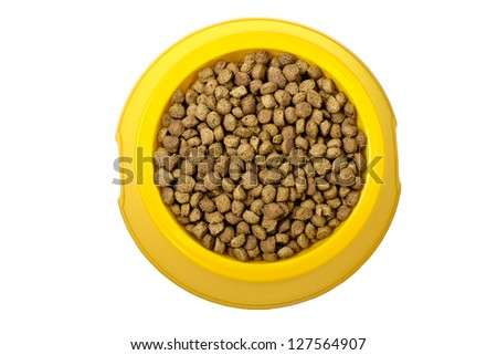 Dry cat food in yellow bowl isolated on white background - stock photo