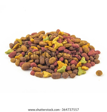 dry cat food on a white background - stock photo