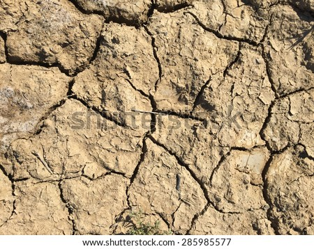 Dry cracked ground during drought in California. - stock photo