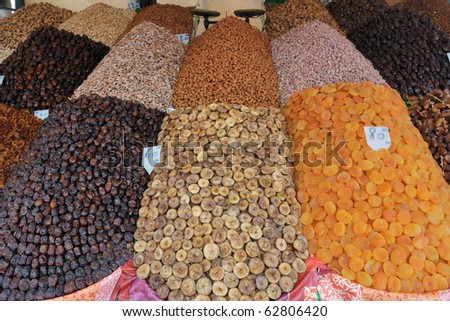 Dry fruits market stand in Marrakesh - stock photo