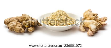 Dry ginger root and grated powder  - stock photo
