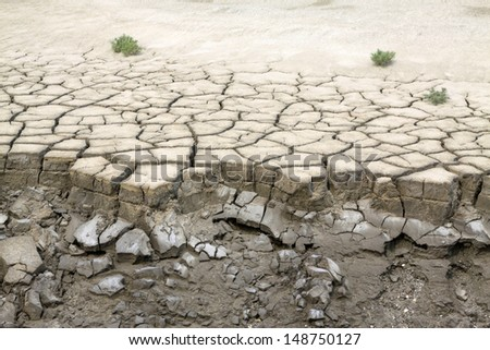 dry land in the wild, closeup of photo, north china - stock photo