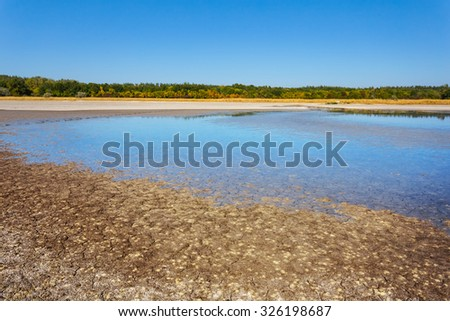 dry lands puddle - stock photo