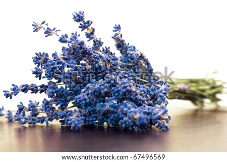 Dry lavender bouquet on white  background - stock photo
