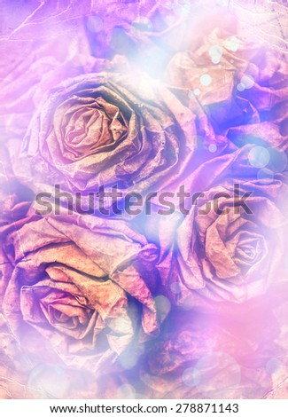 Dry leaf flowers in a bouquet, on old wooden table background,  autumn themes, fall orange leaves made with color filters - stock photo