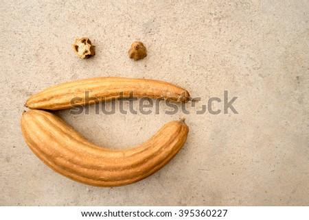 Dry Luffa Gourd Background - stock photo