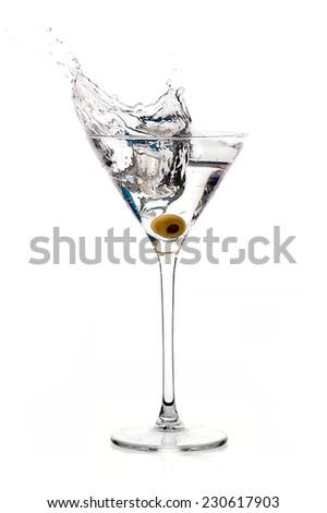 Dry martini cocktail isolated on white background. Splash - stock photo
