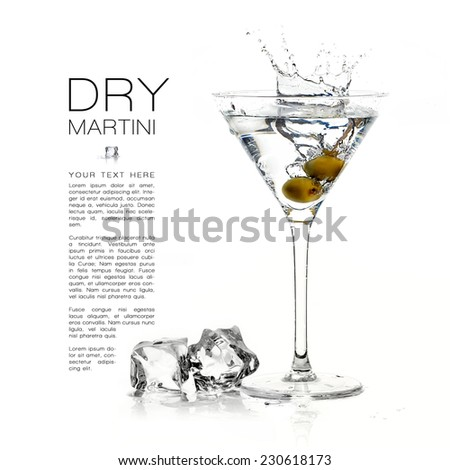 Dry martini cocktail isolated on white background. Splash. Design template with sample text - stock photo