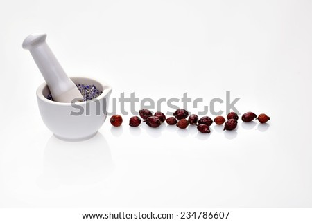 Dry medicinal herbs cornflower and rosehip in porcelain bowl and mortar with pestle - stock photo