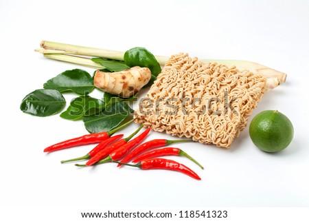 Dry noodle whit some seasoning (chilli,  lemon, ginger, kaffir lime leaf, lemongrass) - stock photo
