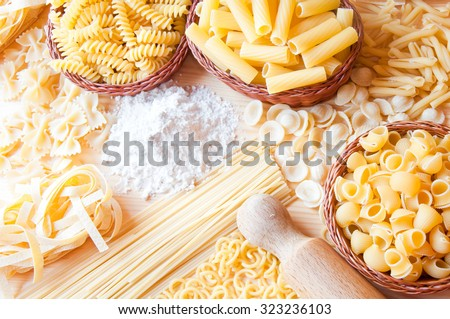 Dry pasta of different types  - stock photo