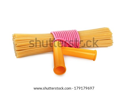 Dry pasta, tied with a rope - stock photo